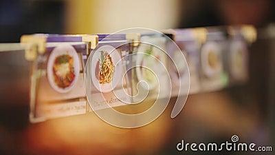 Bildmenü Der Name des Tellers Küche Ein Restaurant stock video