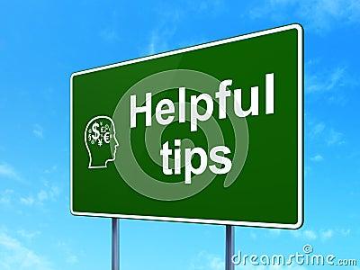 Bildungskonzept: Hilfreiche Tipps und Kopf mit