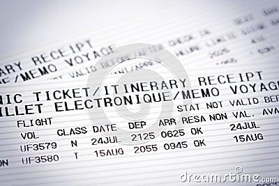 Bilhetes do vôo da linha aérea