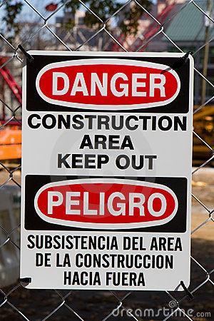 Bilingual Danger Construction Sign