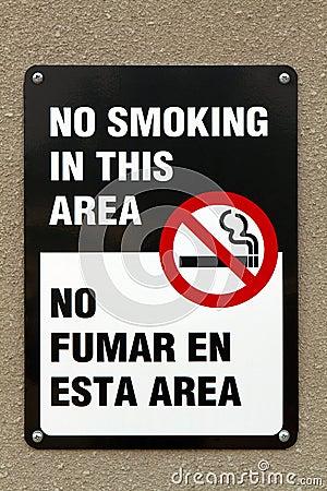 Free Bilingual No Smoking Sign Stock Image - 34475911