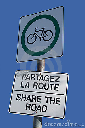 Free Bilingual Share The Road Sign Stock Photos - 1478003