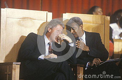Bill Clinton converses with Reverend Otis Moss Editorial Photo