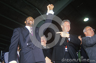 Bill Clinton joins hands with Boxer Tommy Heam Editorial Stock Image