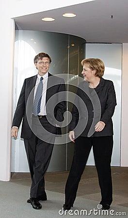 Bill Gates, Angela Merkel Editorial Stock Image