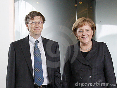 Bill Gates, Angela Merkel Editorial Image