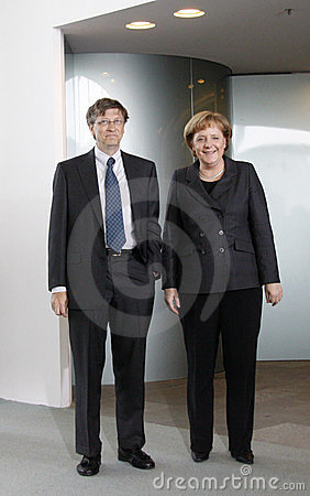 Bill Gates, Angela Merkel Editorial Photography