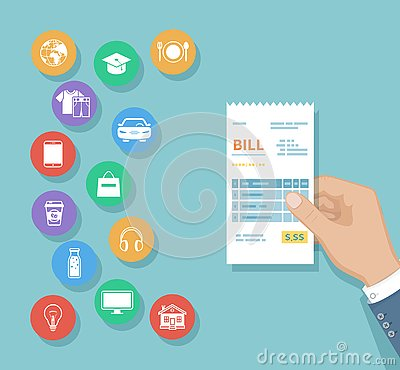 Free Bill In Man Hand. Set Of Service Icons. Shopping, Check Receipt Invoice Order. Paying Bills. Payment Of Goods, Services, Utility Stock Image - 130855961