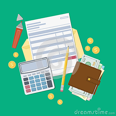 Free Bill Payment Or A Tax Invoice. Open Envelope With A Check, Calculator, Purse With Money, Pencil, Marker, Gold Coins. View From Abo Royalty Free Stock Photos - 77649358