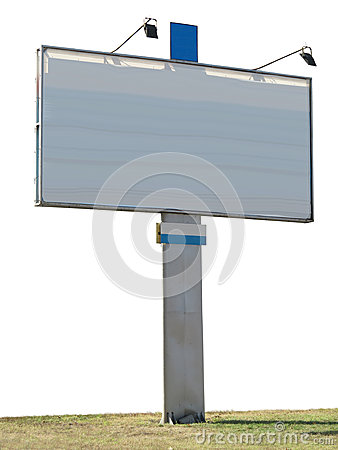 Billboard advertising panel with empty space and light projector
