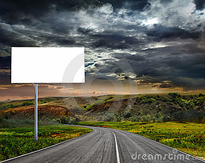 The billboard ande road outdoor.