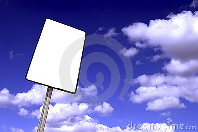 billboard on a blue sky with clouds