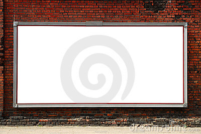 Billboard on a brick wall