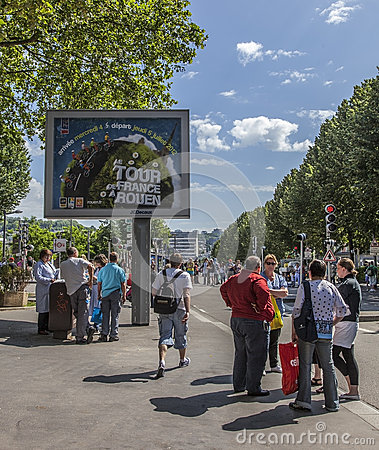 Billboard During Le Tour de France Editorial Image