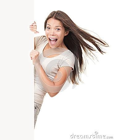 Billboard sign woman ecstatic