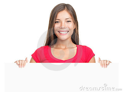 Billboard sign woman smiling