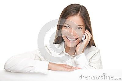 Billboard sign woman talking on mobile phone