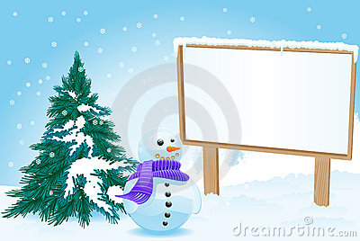 Billboard with snowman