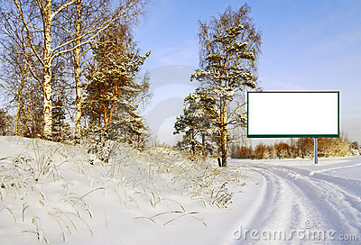 Billboard in the winter forest