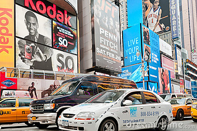 Billboards and traffic of the Times Square Editorial Image