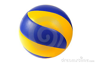 Bille bleu-foncé et jaune de volleyball