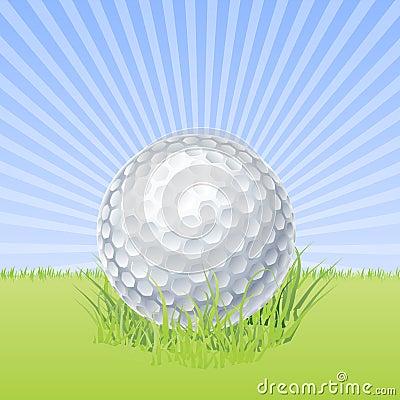 Bille de golf sur le macro vecteur vert