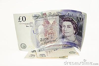Billet de banque de la valeur nulle Image stock éditorial