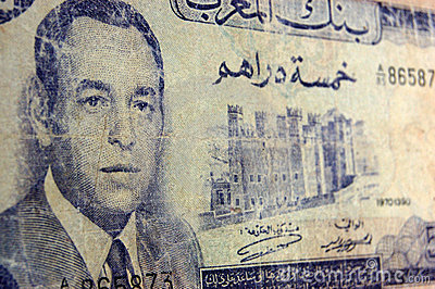 Billete de banco antiguo de rey Farouk, Marruecos