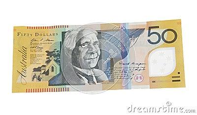 Billete de banco del dólar australiano 50
