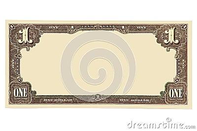 Billete de banco en blanco