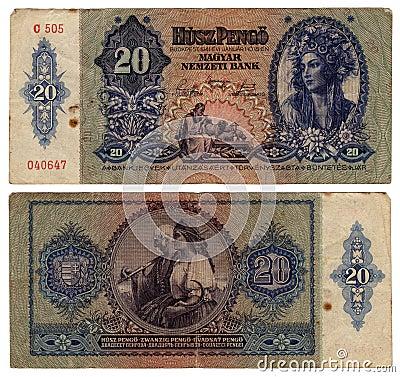 Billete de banco húngaro del vintage a partir de 1941