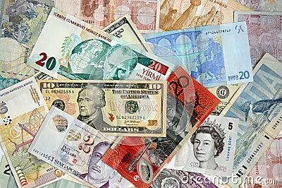 Billetes de banco internacionales Imagen de archivo editorial