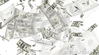 $100 billetes de dólar que vuelan el fondo