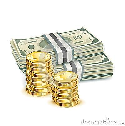 billets d 39 argent et pile de pi ces images stock image 33166424. Black Bedroom Furniture Sets. Home Design Ideas
