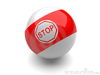 Billiard ball with STOP sign