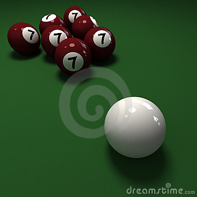 Billiard balls with 7 number seven