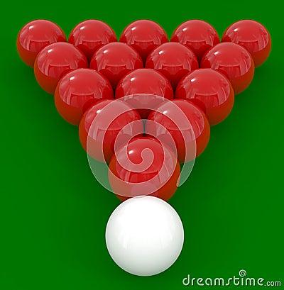 Billiard balls isolated on green