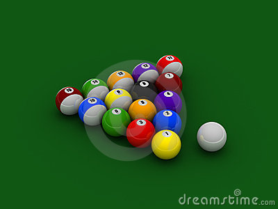 Billiard balls on pool cloth