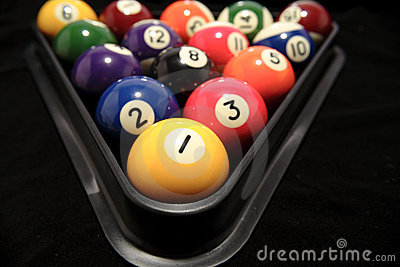 Billiard balls in rack