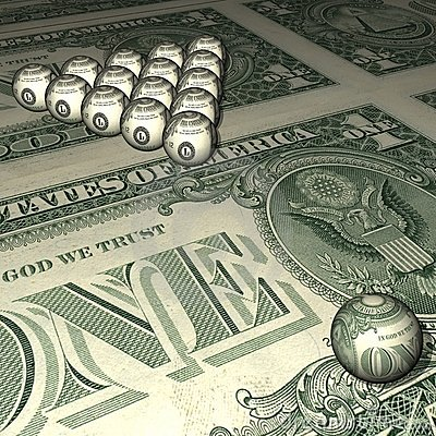 Billiard spheres on a dollar background.