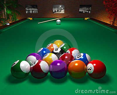 Billiard table in club