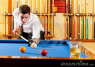 Billiard winner handsome man playing