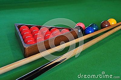 Billiards balls and sticks