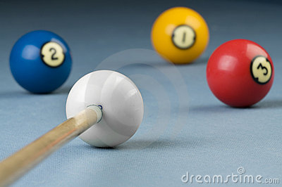 Billiards cue ready for shooting