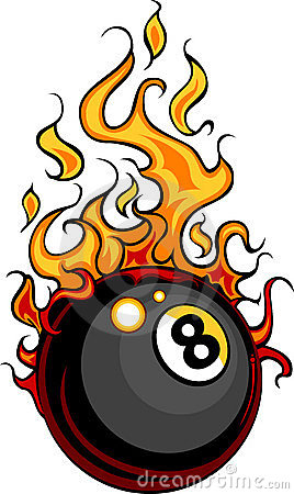 Billiards Eight Ball Flaming Cartoon