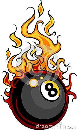 Billiards Eight Ball Flaming Cartoon