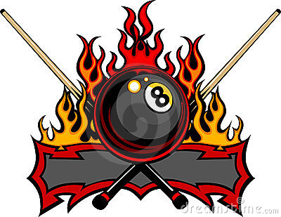 Billiards Eight Ball Flaming Design Template