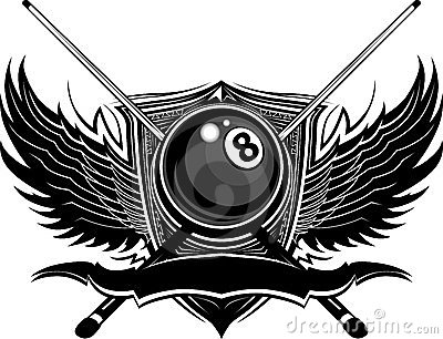 Billiards Eight Ball with Ornate Wings
