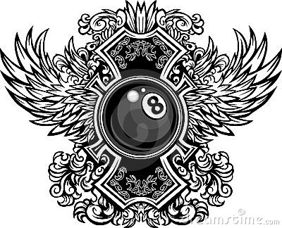 Billiards Eightball Ornate Graphic Template