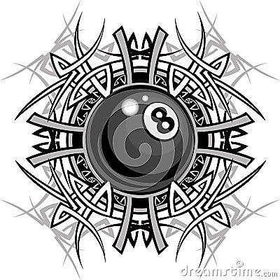 Billiards Eightball Tribal Graphic Image